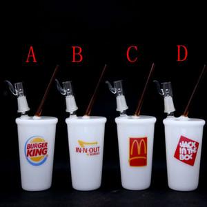 100% de boa qualidade McDonald's Starbucks Cup Glass Bongs 2015 Nova Água de Vidro de Vidro Tubos de Tubulação de Petróleo Recycler Frete Grátis