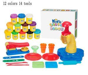 Seguro 12 Colores Harina de Arcilla DIY Pastel de Helado de Cocina Hecho A Mano 14 unids Kit de Herramientas de molde juguete
