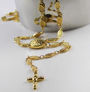 Estilo de moda 22 '' Collar de Rosario de acero inoxidable de oro Cruz La cadena de eslabones ovales Unisex Friends Gifts Joyería Never Fade Tone