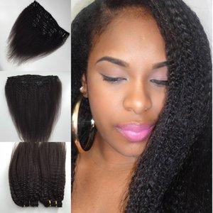 مقطع مستقيم غريب أوروبي غير معالج في الشعر البشري ، مقطع 1B أسود على الشعر Full Head Hair Clip ins