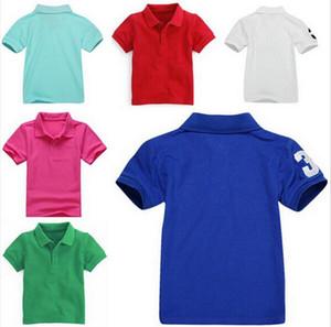 4 -15 años! Bebé Polo Polo niños niños de la camiseta de manga corta de la solapa de la camiseta de los muchachos Tops Marcas de bordado Tees Chicas camisetas de algodón 8889 ##
