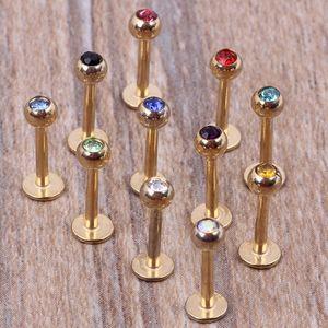 lábio Gold Bar 100pcs / lot mix 7 cores corpo jóias de aço perfurando labret de lábio anel