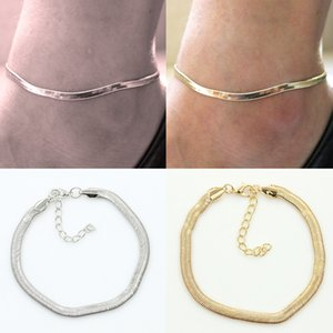 New Silver / Gold Flat Snake Chain Anklet Bracelet Women Simple Delicate Foot Chain Summer Beach Piedi Gioielli Lotti 12 Pz