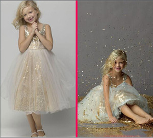 Shining 2015 A-Line Tea-Length Girl's Pageant Dresses Paillettes dorate e scollatura gioiello in tulle Flower girls for Wedding