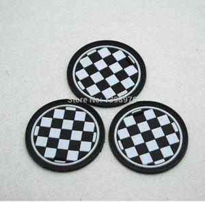 Wholesale-3PCS Checkered Racing Anti-Slip Cup Mat Pad For Mini Cooper JCW R55 R56 R57 R58