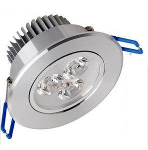 LED encastré Downlight Downlight 3W 6W 9W Dimmable plafond Lampe AC85-265V blanc / chaud blanc LED lampe en aluminium dissipateur thermique de la lampe LED lumière