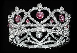 Al por mayor-venta al por mayor niña de la flor / corazón del bebé cristal redondo círculo redondo rosa Mini Crown Tiara CT1777