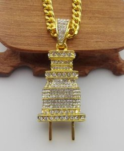 Hip Hop Necklace 18k Gold Plated water Diamond Plug Iced Out Pendant Cuban Chain 30