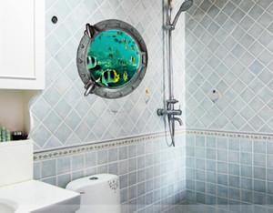 Creative 3D stéréoscopique PVC Underwater World Wall Art Decal Fenêtre Voir Tropical Fish Wallpaper Murales DIY Décoration de La Maison Stickers