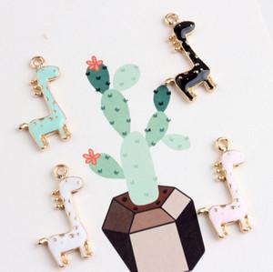 Goldton 10pcs / lot reizende Giraffe Charme-bunte Tropfen-Öl-Emaille-Tier-Rotwild-Charme-Sitz für Armband DIY Art- und Weiseschmucksache-Zusätze