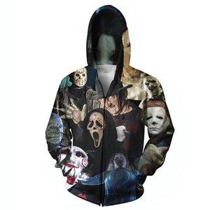 W1216 Harajuku, hombres, mujeres, sudadera con capucha, estampados en 3D, películas de terror / Halloween Devil / shark / Zombie, sudadera con capucha, prendas de abrigo, más el tamaño.
