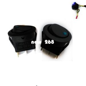 도매 100PCS 자동차 자동차 12V 12 볼트 라운드 로커 닷 보트 블루 LED 라이트 SPST 토글 스위치 ON OFF