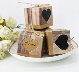 Pequenas caixas de presente de papelão estilo europeu bonito do vintage diy oco papel kraft caixas de presente personalizado forma do coração do ofício do presente