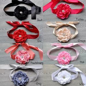Nuevo encaje 5.5 pulgadas flor de peonía a juego Chispas de diamantes de imitación botón Flor Faja Cinturón Faja de boda Flowergirl Faja de longitud aproximadamente 150-180 cm