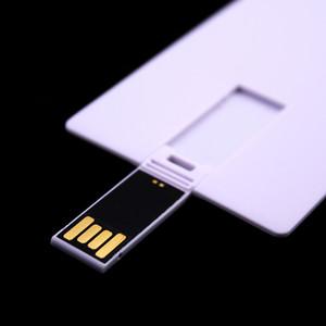 100PCS 128MB / 256MB / 512MB / 1GB / 2GB / 4GB / 8GB / 16GB Tarjeta de crédito Unidad USB 2.0 Memoria Flash Pendrives Stick Blank White Suit para impresión de logotipo