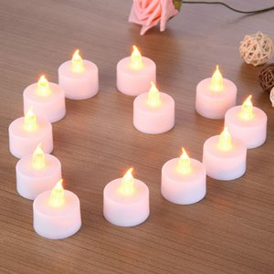 PC + ABS Tea Light 24pcs Led Tea Light Velas Householed Vela Led Battery -Powered Flameless Candles Church Decoración e iluminación para el hogar