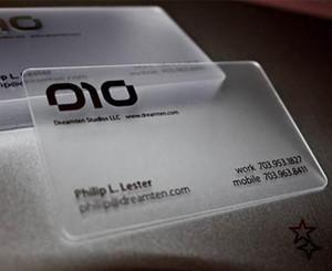 Transparent carte de visite PVC semi-transparent translucide voir à travers l'impression de la carte de visite