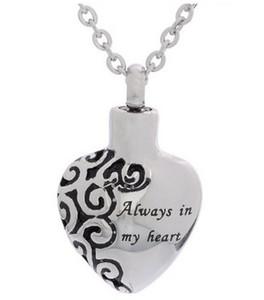 """Collier d'urne de crémation de lily """"toujours dans mon coeur"""" pendentif urne en acier inoxydable bijoux de crémation avec un sac-cadeau"""