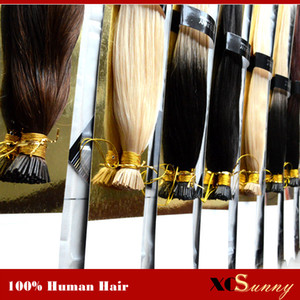 """XCSUNNY I-Tip Hair Extensions 18 """"20"""" Keratin Tip Remy Human Hair Extensions 100g / pk 1g / s I Tip Silky Straight Hair Extensions"""
