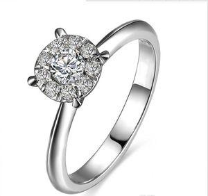 Frete Grátis 18 K Banhado A Ouro Branco Três Anéis de Pedra 925 de Prata Por Atacado Transporte da gota Livre Simulado de Diamante 1 Banda de Casamento Anniversar