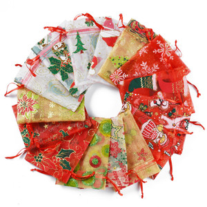 Noël organza sacs cordonnet Pochettes cadeau sacs d'emballage cadeau wrap