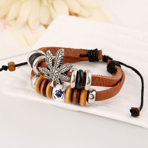 Горячая новая мода Боб Марли очарование Ямайка Дружба трава лист браслеты регги Раста полоса браслеты браслет