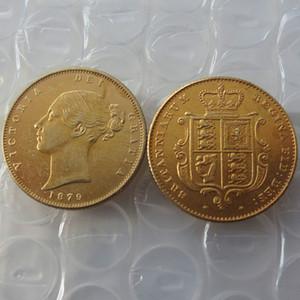 1879 Regina Vittoria Young Head Moneta d'oro Molto raro Mezza sovrana Die Copy Coin Promozione Prezzo di fabbrica a buon mercato bella casa Accessori monete