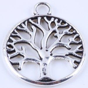 400 adet / grup antik bronz yuvarlak hayat ağacı charm DIY ZAKKA retro takı aksesuarları alaşım metal kolye 4888 w