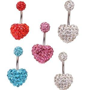 Aço Inoxidável 316 Umbigo Anel de Dança Do Ventre Body Jewelry Piercing Cristal Duplo Pêssego Coração Umbigo Sino Anéis