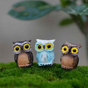 Mini Harz Big Eye Owl Fairy Garden Miniaturen Handwerk Moos Terrarium Kreative Grüne Pflanze Geschenk Micro Landschaft Ornamente DIY Zakka
