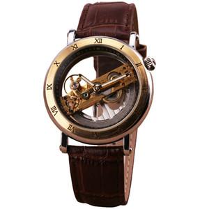 2019 nuevo JARAGAR Luxury Golden Bridge Roman Dial de los hombres automático mecánico reloj de pulsera movimiento transparente cuero genuino