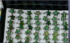 five-pointed star 만화 MOOD 반지 온도 변화 색상 고리 MOOD 반지 오각형 그림 웃는 얼굴 열림 반지 100pcs