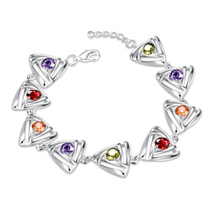 2016 925 sterling silver charm bracelet with zircon jewelry nice Valentine's Day gift for a woman top quality cheap wholesale free shipping