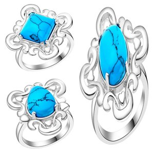 Klasik Turquoise Antik Gümüş yüzükler kare, oval armut klasik tek Turqus Karışık Stiller eski taş Halkalar turkuaz Yüzük