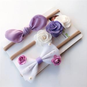 3pc venda del muchacho de nylon del spandex oreja de conejo niños del bebé flaco elástico del pelo elástica que no marca Bowknot de la flor de la venda