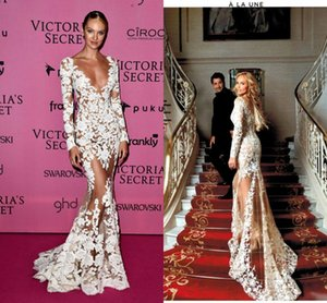 Zuhair Murad 2019 Sheer Lace Evening Dresses Long Sleeves V Neck Appliques Long CANDICE SWANEPOEL Wears Illusion Prom Celebrity Party Gowns