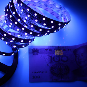 UV Purple LED Stripe Light 5050 SMD 60LED / M DC 12V No-impermeable 395-405NM Ray Ultraviolet Ray Tiro flexible Cinta de cinta