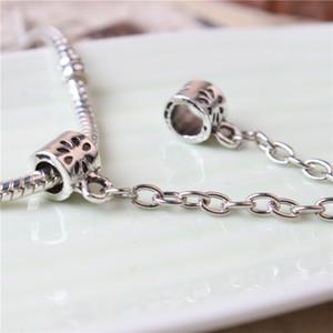 Chaîne de sécurité cardiaque mode femmes bijoux en argent 925 plaqué belle pour Pandora Bracelet charme perle style européen 001