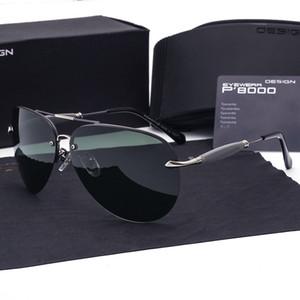 Diseñador de la marca Gafas de sol polarizadas para hombres Aleación de metal Gafas de sol cuadradas Gafas de sol vintage polarizadas Gafas militares con estuches