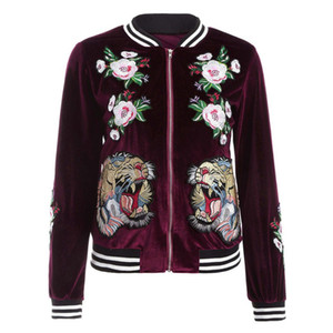 Atacado Moda Mulheres Magro Velvet Jacket Bomber bordado Tiger Casaco Feminino