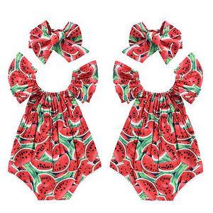 유아 신생아 아기 소녀 수박 인쇄 레이스 민소매 Romper 머리띠 2PCS 옷 아동 Playsuit 점프 슈트 일식