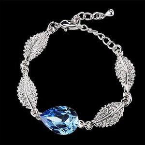 Fashion Austrian Crystal Charm Bracelets Water Drop Shape Bracelets 18k silver silver bracelets Alloy Material bracelets for women 4172