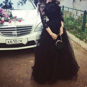 2016 고귀한 검은 색 긴 소매 A 라인 정장 이브닝 드레스 Bateau Vestidos De Festa Prom 가운 가운 레이스 플러스 사이즈 Tulles Arabic Winter Dresses