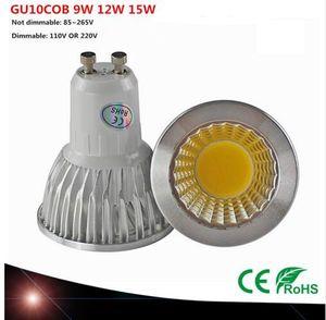 슈퍼 밝은 GU10 전구 빛 디 밍이 가능한 LED 천장 조명 따뜻한 / 화이트 85-265V 9W 12W 15W GU10 COB LED 램프 빛 GU10 주도 스포트 라이트