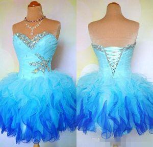 A buon mercato Ombre Multi Color Colorful Corsetto corto e Tulle Ball Gown Prom Homecoming Dance Party Dresses Mini Abiti da addio al nubilato 2019