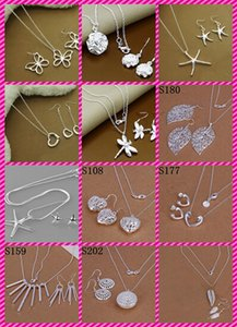 mix Butterfly Dragonfly Heart Rose Starfish Tree leaf 925 Sterling Silver Fashion Earrings+Necklace Jewelry Set