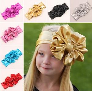 Sıcak Bebek Hairband Kızlar Güzel Yay Saç Bandı Avrupa Tarzı Bebek Sevimli Büyük Ilmek Headwrap Bebekler Metalik Parlaklık Headhands 7 Renk I4255