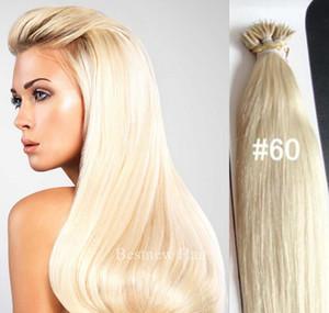 """18 """"20"""" 22"""" Nano Ringe INDIAN REMY Menschenhaar-Verlängerungen 100g / pk 100beads 1g / s Farbe # 60 Nano Tip indische Remy Haar-Nano-Ringe Haar-Verlängerungen"""