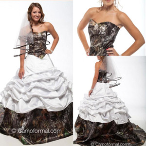 Nouvelle arrivée Backless Camo Robes de Mariée Discount chérie Zipper Backless Country Style Vintage A-ligne Robes de mariée