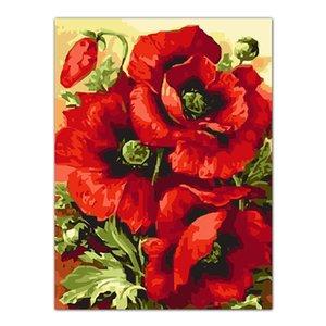 Frameless papavero fiore fai da te frameless foto painting by numbers pittura a olio su tela digitale soggiorno per home office decor